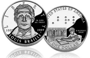 The Louis Braille commemorative silver dollars.